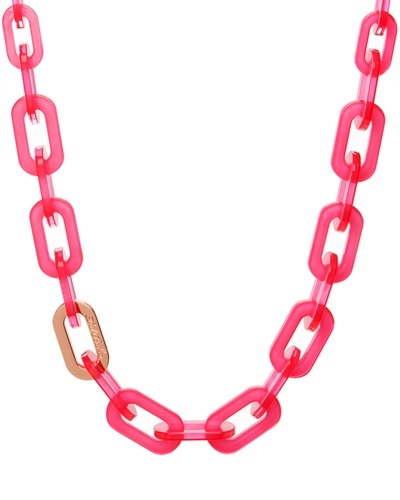 Ted Baker Jacey Chain Necklace - predominant colour: hot pink; secondary colour: gold; occasions: casual, evening, holiday; length: mid; size: standard; material: plastic/rubber; finish: plain; season: s/s 2013; style: chain (no pendant)