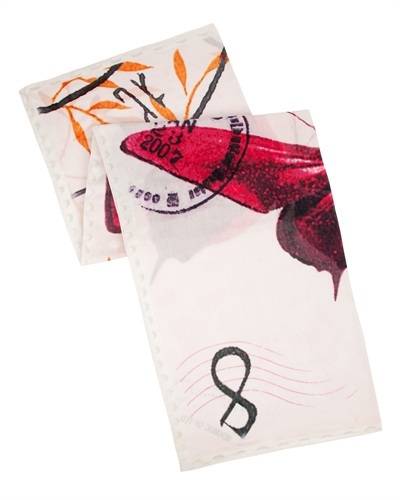 Ted Baker Skippur Butterfly Print Scarf - predominant colour: ivory/cream; occasions: casual, evening, work, occasion; type of pattern: standard; style: square; size: standard; material: fabric; pattern: patterned/print; secondary colour: raspberry; season: s/s 2013; multicoloured: multicoloured