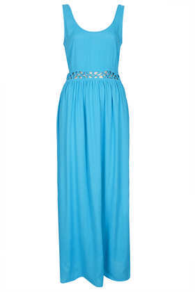 Lace Up Waist Maxi Dress - sleeve style: standard vest straps/shoulder straps; fit: fitted at waist; pattern: plain; style: maxi dress; length: ankle length; waist detail: embellishment at waist/feature waistband; predominant colour: diva blue; occasions: casual, holiday; neckline: scoop; fibres: viscose/rayon - 100%; hip detail: subtle/flattering hip detail; sleeve length: sleeveless; texture group: cotton feel fabrics; pattern type: fabric; season: s/s 2013