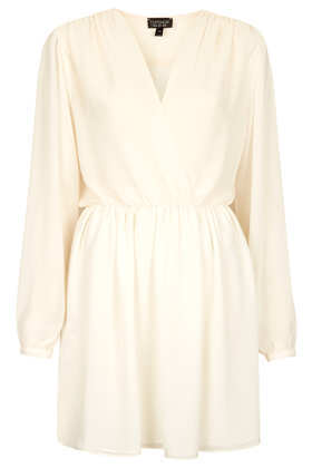 Chiffon Wrap Dress - style: faux wrap/wrap; length: mid thigh; neckline: v-neck; fit: fitted at waist; pattern: plain; waist detail: elasticated waist; sleeve style: balloon; bust detail: subtle bust detail; predominant colour: ivory/cream; occasions: casual; fibres: polyester/polyamide - 100%; hip detail: ruching/gathering at hip; shoulder detail: subtle shoulder detail; sleeve length: long sleeve; texture group: sheer fabrics/chiffon/organza etc.; pattern type: fabric; season: s/s 2013