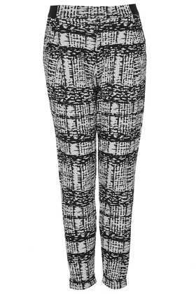 Petite Mono Grid Trousers - style: peg leg; waist: mid/regular rise; secondary colour: light grey; predominant colour: black; occasions: casual; length: ankle length; fibres: polyester/polyamide - stretch; fit: tapered; pattern type: fabric; pattern: patterned/print; texture group: woven light midweight; season: s/s 2013; trends: monochrome; pattern size: standard (bottom)