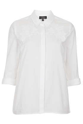 Flower Embroidered Shirt - neckline: shirt collar/peter pan/zip with opening; pattern: plain; style: shirt; predominant colour: white; occasions: casual, work; length: standard; fibres: cotton - 100%; fit: body skimming; sleeve length: 3/4 length; sleeve style: standard; texture group: cotton feel fabrics; pattern type: fabric; embellishment: embroidered; season: s/s 2013