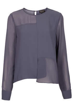 Longsleeve Seamed Panel Tunic - neckline: round neck; pattern: plain; length: below the bottom; style: tunic; predominant colour: charcoal; occasions: casual, evening, work, holiday; fibres: polyester/polyamide - 100%; fit: loose; back detail: keyhole/peephole detail at back; sleeve length: long sleeve; sleeve style: standard; texture group: sheer fabrics/chiffon/organza etc.; pattern type: fabric; season: s/s 2013