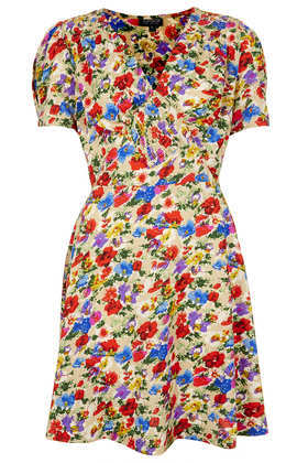 Poppy Shirred Tea Dress - style: tea dress; length: mid thigh; neckline: low v-neck; sleeve style: capped; fit: fitted at waist; waist detail: fitted waist; bust detail: ruching/gathering/draping/layers/pintuck pleats at bust; secondary colour: true red; occasions: casual, holiday; fibres: polyester/polyamide - 100%; hip detail: soft pleats at hip/draping at hip/flared at hip; shoulder detail: flat/draping pleats/ruching/gathering at shoulder; predominant colour: multicoloured; sleeve length: short sleeve; texture group: cotton feel fabrics; pattern type: fabric; pattern size: big & busy; pattern: florals; season: s/s 2013; multicoloured: multicoloured