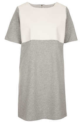 Pu Panel Sweat Dress - style: t-shirt; length: mid thigh; neckline: round neck; fit: loose; pattern: plain; shoulder detail: contrast pattern/fabric at shoulder; secondary colour: ivory/cream; predominant colour: mid grey; occasions: casual; fibres: cotton - mix; sleeve length: short sleeve; sleeve style: standard; pattern type: fabric; texture group: jersey - stretchy/drapey; season: s/s 2013