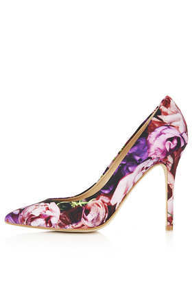 Gwenda Pointed Courts - secondary colour: pink; predominant colour: purple; occasions: evening, work, occasion; material: leather; heel height: high; heel: stiletto; toe: pointed toe; style: courts; trends: high impact florals; finish: plain; pattern: florals; season: s/s 2013