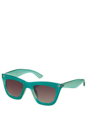Glitter Flatbrow Cateye - predominant colour: teal; occasions: casual, holiday; style: cateye; size: standard; material: plastic/rubber; pattern: plain; finish: plain; season: s/s 2013