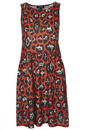 Leopard Relaxed Skater Dress - style: smock; neckline: slash/boat neckline; fit: loose; sleeve style: sleeveless; waist detail: flattering waist detail; predominant colour: true red; secondary colour: black; occasions: casual, holiday; length: just above the knee; fibres: polyester/polyamide - 100%; sleeve length: sleeveless; trends: statement prints; pattern type: fabric; pattern size: big & busy; pattern: animal print; texture group: jersey - stretchy/drapey; season: s/s 2013