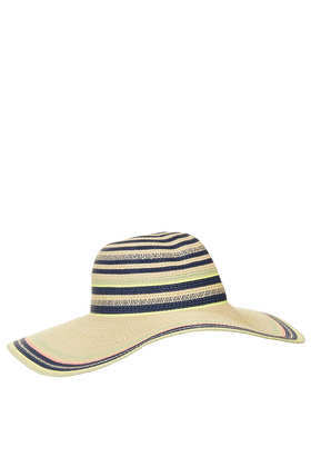 Straw Fluro Stripe Floppy Hat - secondary colour: navy; predominant colour: stone; occasions: casual, holiday; type of pattern: standard; style: sunhat; size: large; material: macrame/raffia/straw; pattern: horizontal stripes; season: s/s 2013