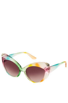 Multi Cateye Sunglasses - occasions: casual, holiday; predominant colour: multicoloured; style: cateye; size: standard; material: plastic/rubber; finish: plain; pattern: patterned/print; season: s/s 2013; multicoloured: multicoloured