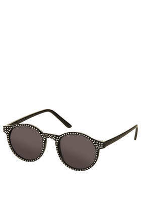 Diamante Round Sunglasses - predominant colour: black; occasions: casual, holiday; style: round; size: standard; material: plastic/rubber; embellishment: crystals/glass; pattern: plain; finish: plain; season: s/s 2013