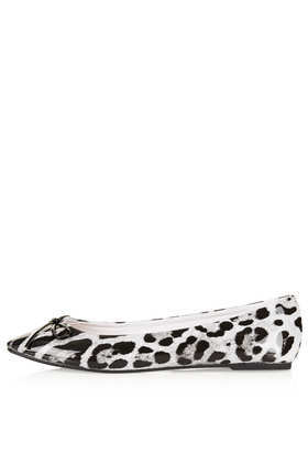 Mixer Leopard Ballet Slippers - predominant colour: white; secondary colour: black; occasions: casual, work; material: faux leather; heel height: flat; toe: round toe; style: ballerinas / pumps; finish: patent; pattern: animal print; season: s/s 2013; trends: monochrome