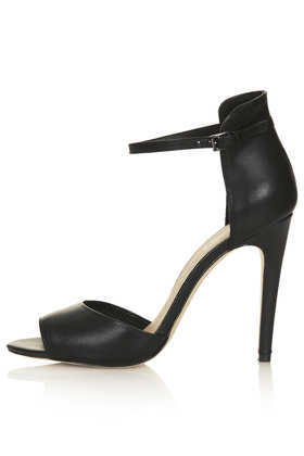 Rebel Clean 2 Part Sandals - predominant colour: black; occasions: evening, occasion; material: leather; heel height: high; ankle detail: ankle strap; heel: stiletto; toe: open toe/peeptoe; style: standard; finish: plain; pattern: plain; season: s/s 2013