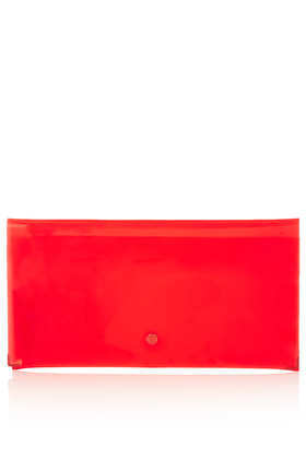 Ghost Clutch Bag - predominant colour: coral; occasions: casual, evening; style: clutch; length: hand carry; size: small; material: plastic/rubber; pattern: plain; trends: fluorescent; finish: fluorescent; season: s/s 2013