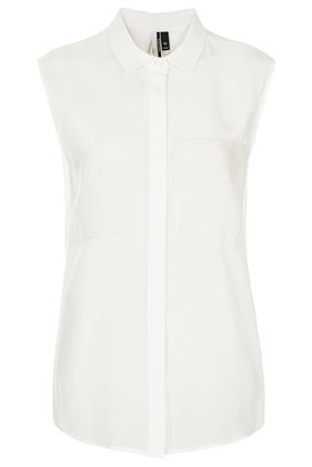 Sleeveless Silk Organza Shirt - neckline: shirt collar/peter pan/zip with opening; pattern: plain; sleeve style: sleeveless; style: shirt; predominant colour: white; occasions: casual, evening, work; length: standard; fibres: silk - 100%; fit: straight cut; sleeve length: sleeveless; texture group: sheer fabrics/chiffon/organza etc.; pattern type: fabric; season: s/s 2013