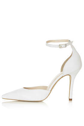 Gizmo Ankle Strap Court Shoes - predominant colour: white; occasions: evening, work, occasion; material: suede; heel height: high; ankle detail: ankle strap; heel: stiletto; toe: pointed toe; style: courts; finish: plain; pattern: plain; season: s/s 2013