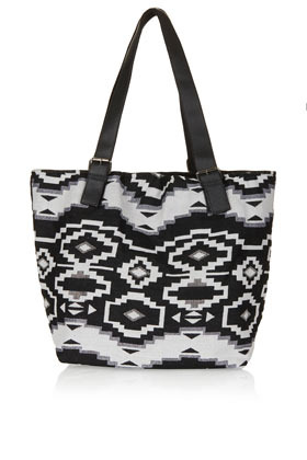 Aztec Shopper - secondary colour: white; predominant colour: black; occasions: casual, holiday; type of pattern: standard; style: shoulder; length: shoulder (tucks under arm); size: oversized; material: fabric; finish: plain; pattern: patterned/print; trends: world traveller, monochrome; season: s/s 2013