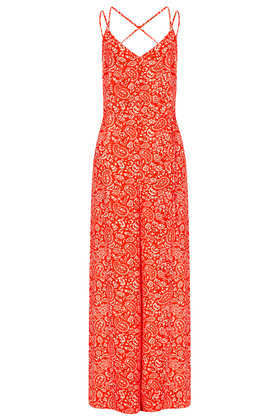 Paisley Strappy Jumpsuit - length: standard; sleeve style: spaghetti straps; fit: loose; pattern: paisley; waist detail: belted waist/tie at waist/drawstring; secondary colour: white; predominant colour: bright orange; occasions: casual, holiday; fibres: polyester/polyamide - 100%; neckline: no opening/shirt collar/peter pan; sleeve length: sleeveless; texture group: crepes; style: jumpsuit; pattern type: fabric; pattern size: standard; season: s/s 2013