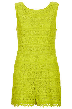 Crochet Playsuit - neckline: round neck; fit: tailored/fitted; sleeve style: sleeveless; length: short shorts; predominant colour: lime; occasions: evening; fibres: cotton - 100%; sleeve length: sleeveless; texture group: lace; style: playsuit; pattern type: fabric; pattern: patterned/print; season: s/s 2013