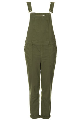 Khaki Washed Dungaree - sleeve style: standard vest straps/shoulder straps; pattern: plain; predominant colour: khaki; occasions: casual; length: ankle length; fit: straight cut; fibres: cotton - 100%; jeans & bottoms detail: turn ups; sleeve length: sleeveless; texture group: cotton feel fabrics; style: dungarees; neckline: low square neck; bust detail: dungaree top; pattern type: fabric; season: s/s 2013
