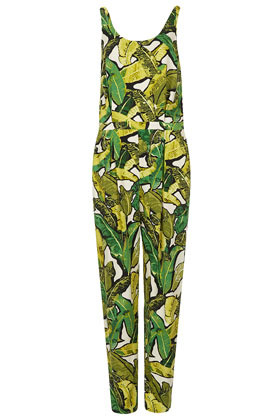 Leaf Print Jumpsuit - fit: fitted at waist; sleeve style: sleeveless; predominant colour: emerald green; secondary colour: lime; occasions: casual, holiday; length: ankle length; neckline: scoop; fibres: viscose/rayon - 100%; sleeve length: sleeveless; texture group: crepes; style: jumpsuit; pattern type: fabric; pattern size: big & busy; pattern: patterned/print; season: s/s 2013