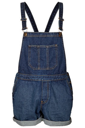 Moto Vintage Denim Dungarees - sleeve style: standard vest straps/shoulder straps; fit: loose; pattern: plain; length: short shorts; predominant colour: royal blue; occasions: casual; fibres: cotton - 100%; jeans & bottoms detail: turn ups; sleeve length: sleeveless; texture group: denim; style: dungarees; neckline: low square neck; bust detail: dungaree top; pattern type: fabric; season: s/s 2013