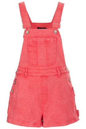 **Demi Dungarees Motel - sleeve style: standard vest straps/shoulder straps; pattern: plain; length: short shorts; predominant colour: pink; occasions: casual; fit: straight cut; fibres: cotton - stretch; sleeve length: sleeveless; texture group: denim; style: dungarees; neckline: low square neck; bust detail: dungaree top; pattern type: fabric; season: s/s 2013