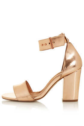 Ramble Square Toe Sandals - predominant colour: gold; occasions: evening, occasion; material: leather; heel height: mid; ankle detail: ankle strap; heel: block; toe: open toe/peeptoe; style: standard; finish: metallic; pattern: plain; season: s/s 2013