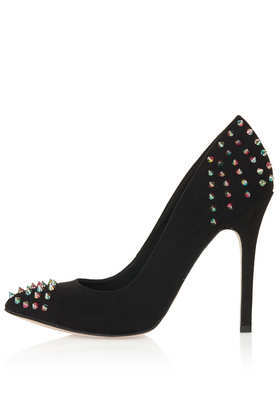 Grizzly Studded Pointed Courts - predominant colour: black; occasions: evening, occasion; material: suede; heel height: high; embellishment: studs; heel: stiletto; toe: pointed toe; style: courts; finish: plain; pattern: plain; season: s/s 2013
