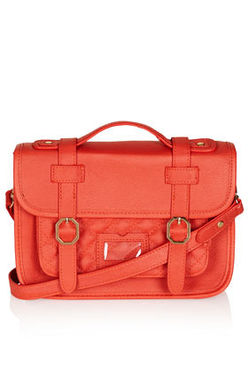 Mini Quilted Satchel - predominant colour: coral; occasions: casual; style: satchel; length: across body/long; size: small; material: faux leather; embellishment: quilted; pattern: plain; finish: plain; season: s/s 2013