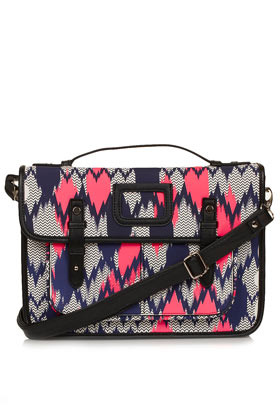 Aztec Zig Zag Print Satchel - predominant colour: hot pink; secondary colour: navy; occasions: casual; type of pattern: standard; style: satchel; length: across body/long; size: standard; material: faux leather; finish: plain; pattern: patterned/print; season: s/s 2013