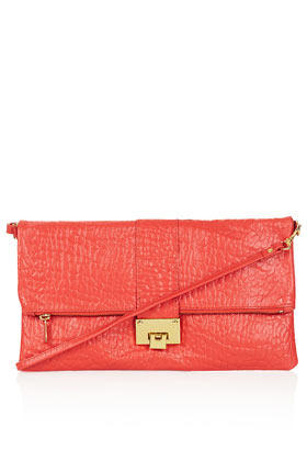 Flip Lock Clutch - predominant colour: coral; occasions: casual, evening, occasion; style: clutch; length: hand carry; size: small; material: leather; pattern: plain; finish: plain; season: s/s 2013
