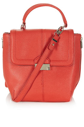 Sac BandouliÈre À Fermoir Clip - predominant colour: coral; occasions: casual, work; style: shoulder; length: across body/long; size: standard; material: faux leather; embellishment: zips; pattern: plain; finish: plain; season: s/s 2013
