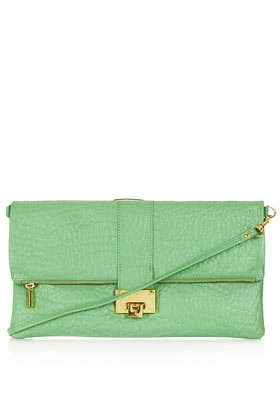 Flip Lock Clutch - predominant colour: pistachio; occasions: casual, evening, occasion; style: clutch; length: hand carry; size: small; material: leather; pattern: plain; finish: plain; season: s/s 2013
