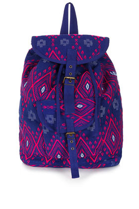 Diamond Jacquard Backpack - secondary colour: hot pink; predominant colour: royal blue; occasions: casual, holiday; type of pattern: standard; style: rucksack; length: rucksack; size: standard; material: fabric; finish: plain; pattern: patterned/print; season: s/s 2013