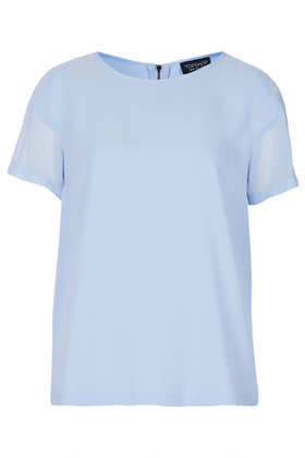 Sheer Panel Seam Tee - neckline: round neck; sleeve style: capped; pattern: plain; style: t-shirt; predominant colour: pale blue; occasions: casual, work; length: standard; fibres: polyester/polyamide - 100%; fit: straight cut; sleeve length: short sleeve; texture group: sheer fabrics/chiffon/organza etc.; pattern type: fabric; season: s/s 2013
