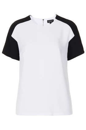 Contrast Panel Seam Tee - neckline: round neck; sleeve style: raglan; style: t-shirt; shoulder detail: contrast pattern/fabric at shoulder; predominant colour: white; secondary colour: black; occasions: casual; length: standard; fibres: polyester/polyamide - 100%; fit: straight cut; sleeve length: short sleeve; texture group: sheer fabrics/chiffon/organza etc.; pattern type: fabric; pattern size: standard; pattern: colourblock; season: s/s 2013