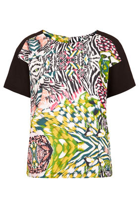 Solarised Safari Tee - neckline: round neck; sleeve style: raglan; style: t-shirt; shoulder detail: contrast pattern/fabric at shoulder; secondary colour: black; occasions: casual, holiday; length: standard; fibres: polyester/polyamide - 100%; fit: straight cut; predominant colour: multicoloured; sleeve length: short sleeve; texture group: sheer fabrics/chiffon/organza etc.; trends: statement prints; pattern type: fabric; pattern size: standard; pattern: patterned/print; season: s/s 2013; multicoloured: multicoloured