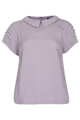Pleat Sleeve Detail Tee - sleeve style: dolman/batwing; pattern: plain; predominant colour: lilac; occasions: casual, evening, work, holiday; length: standard; style: top; fibres: polyester/polyamide - mix; fit: loose; neckline: no opening/shirt collar/peter pan; shoulder detail: subtle shoulder detail; sleeve length: short sleeve; texture group: sheer fabrics/chiffon/organza etc.; pattern type: fabric; pattern size: standard; season: s/s 2013