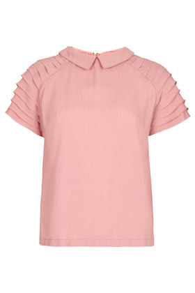 Pleat Sleeve Detail Tee - sleeve style: raglan; pattern: plain; predominant colour: pink; occasions: casual, evening, work, holiday; length: standard; style: top; fibres: polyester/polyamide - mix; fit: loose; neckline: no opening/shirt collar/peter pan; shoulder detail: subtle shoulder detail; sleeve length: short sleeve; texture group: sheer fabrics/chiffon/organza etc.; pattern type: fabric; season: s/s 2013; wardrobe: highlight