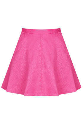 Jacquard Full Swing Skirt - length: mini; pattern: plain; fit: body skimming; waist: high rise; predominant colour: hot pink; occasions: casual, evening, occasion, holiday; style: fit & flare; fibres: cotton - mix; pattern type: fabric; texture group: brocade/jacquard; season: s/s 2013
