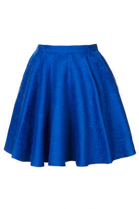 Jacquard Full Swing Skirt - length: mid thigh; pattern: plain; style: full/prom skirt; fit: loose/voluminous; waist: mid/regular rise; predominant colour: royal blue; occasions: casual, evening, holiday; fibres: cotton - mix; hip detail: subtle/flattering hip detail; trends: volume; pattern type: fabric; texture group: other - light to midweight; season: s/s 2013