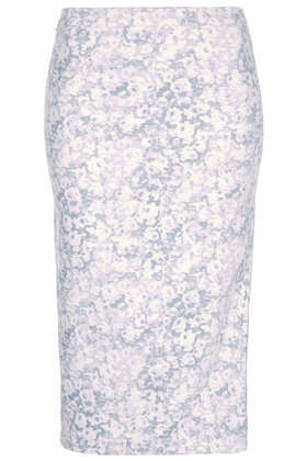 Moto Blossom Print Midi Skirt - length: below the knee; fit: tight; waist: mid/regular rise; secondary colour: white; predominant colour: pale blue; occasions: casual, evening, work, holiday; fibres: cotton - 100%; style: tube; texture group: denim; pattern type: fabric; pattern: patterned/print; season: s/s 2013; pattern size: standard (bottom)