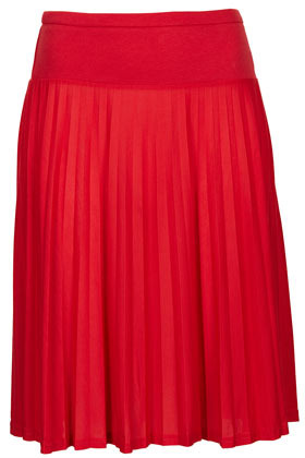 Coral Pleated Skater Skirt - pattern: plain; fit: loose/voluminous; style: pleated; waist: mid/regular rise; predominant colour: coral; occasions: casual, evening, work, holiday; length: on the knee; fibres: polyester/polyamide - 100%; pattern type: fabric; texture group: other - light to midweight; season: s/s 2013