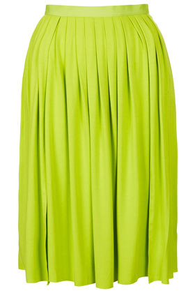 Lime Pleat Split Calf Skirt - pattern: plain; fit: loose/voluminous; style: pleated; waist: mid/regular rise; predominant colour: lime; occasions: casual, evening, work, holiday; length: on the knee; fibres: viscose/rayon - stretch; hip detail: subtle/flattering hip detail; waist detail: feature waist detail; pattern type: fabric; texture group: jersey - stretchy/drapey; season: s/s 2013