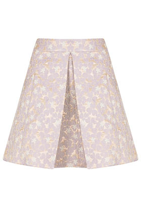 Lilac Floral A Line Skirt - fit: loose/voluminous; waist detail: wide waistband/cummerbund; waist: mid/regular rise; secondary colour: ivory/cream; predominant colour: lilac; occasions: evening, work, occasion, holiday; length: just above the knee; style: a-line; fibres: polyester/polyamide - mix; hip detail: adds bulk at the hips; texture group: cotton feel fabrics; pattern type: fabric; pattern: florals; season: s/s 2013; pattern size: standard (bottom)