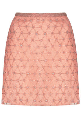 Pink Embellished Mini Skirt - length: mini; fit: tailored/fitted; waist: mid/regular rise; predominant colour: pink; occasions: evening, occasion, holiday; style: mini skirt; fibres: nylon - 100%; waist detail: feature waist detail; pattern type: fabric; pattern: patterned/print; texture group: other - light to midweight; embellishment: beading; season: s/s 2013; pattern size: standard (bottom); wardrobe: highlight; embellishment location: pattern