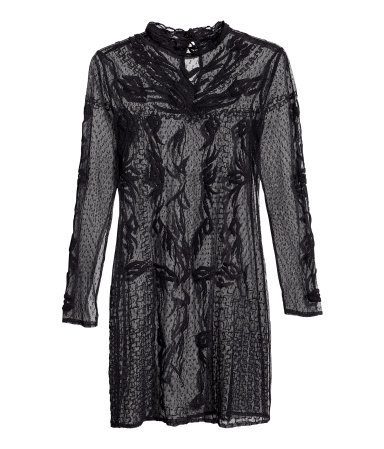 Long Sleeved Lace Dress - style: shift; length: mini; fit: tailored/fitted; waist detail: fitted waist; hip detail: fitted at hip; shoulder detail: contrast pattern/fabric at shoulder; bust detail: ruching/gathering/draping/layers/pintuck pleats at bust; predominant colour: black; occasions: evening, occasion; neckline: collarstand; fibres: polyester/polyamide - 100%; sleeve length: long sleeve; sleeve style: standard; texture group: lace; pattern type: fabric; pattern size: light/subtle; pattern: patterned/print; embellishment: lace; season: s/s 2013