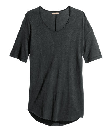 Top - sleeve style: dolman/batwing; pattern: plain; length: below the bottom; style: t-shirt; predominant colour: charcoal; occasions: casual, holiday; neckline: scoop; fibres: linen - mix; fit: loose; hip detail: dip hem; sleeve length: short sleeve; pattern type: fabric; texture group: jersey - stretchy/drapey; season: s/s 2013