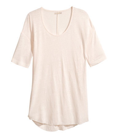 Top - sleeve style: dolman/batwing; pattern: plain; waist detail: drop waist; length: below the bottom; style: t-shirt; predominant colour: ivory/cream; occasions: casual, holiday; neckline: scoop; fibres: linen - mix; fit: loose; hip detail: dip hem; sleeve length: short sleeve; pattern type: fabric; texture group: jersey - stretchy/drapey; season: s/s 2013